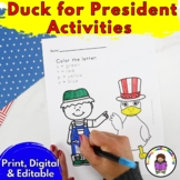 Duck President Activities for Kindergarten (EDITABLE!) Make Elections fun!