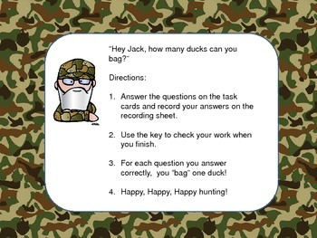 Duck Hunt - Multiplication and division Task Cards