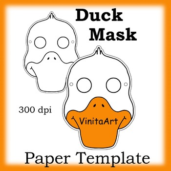 Duck Mask Paper Mask Template Animal Mask By Vinitaart Tpt
