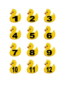 Duck Numbers for Calendar or Math Activity