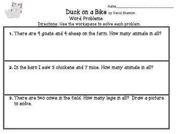 Duck On a Bike Activity Pack UPDATED!