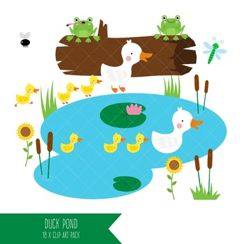 Duck Pond Clipart / Mother Duck and Ducklings Clip Art