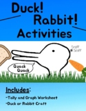 Duck! Rabbit! Activities - Craft and Tally & Graph Worksheet + READ ALOUD
