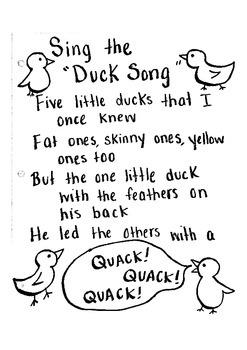 Duck Song Lyrics Handout