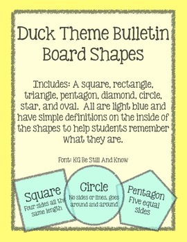 Duck Theme Bulletin Board Shapes