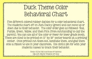 Duck Theme Color Behavioral Chart