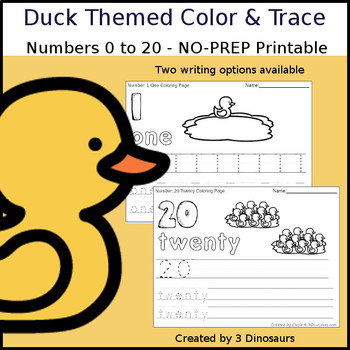 Duck Themed Number Color and Trace