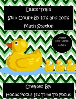 B2S Duck Train Skip Count to 1000 By 10's & 100's Math Station 2.NBT.2