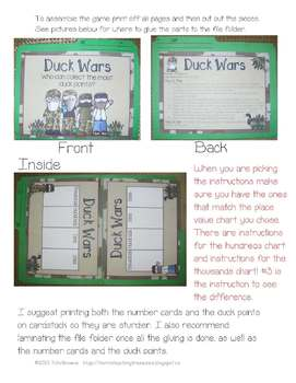Duck Wars - Place Value to Thousands File Folder Game