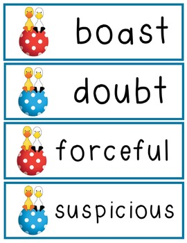 Duck and Goose Vocabulary, Assessment and -ay Practice