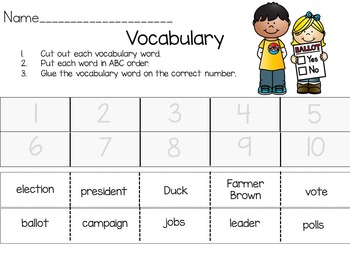 Duck for President  38 pgs Common Core Activities