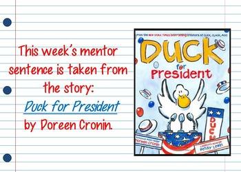 Duck for President Interactive Mentor Sentence Teaching PowerPoint