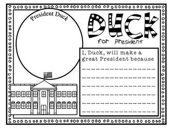 Duck for President--Response Journal and Craftivity for K-2