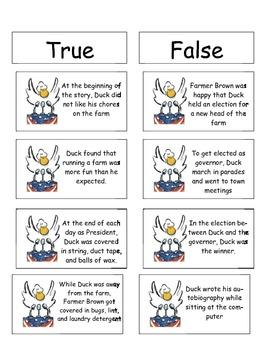 Duck for President True/false cards