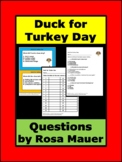 Duck for Turkey Day Printable Questions Task Cards & Works
