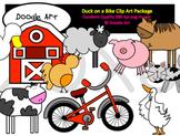 Duck Loves His Bike Clipart Pack