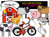 Duck Loves His Bike Clipart Pack