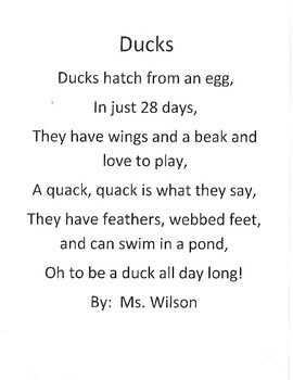 Duck poem and craft