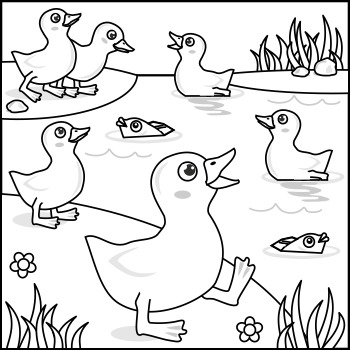 Connect the Dots and Coloring Page with Ducklings, Commercial Use Allowed