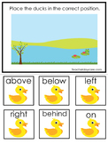 Ducks At the Pond themed Positional Game.  Printable Preschool Curriculum Game