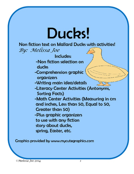 Ducks!  Informational Text with Literacy and Math Activiti