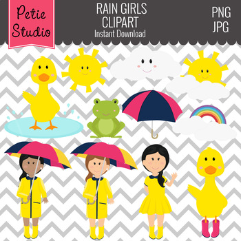 Ducks, Rainy Day Clipart, Weather Clipart - Spring110