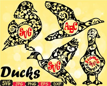 Ducks SVG Mascot Flower Animal farm family wild clipart ci