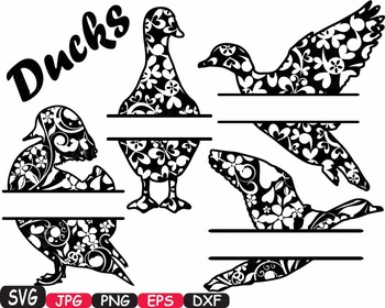 Ducks Split SVG Mascot Flower Animal farm family wild clipart circus zoo -396S