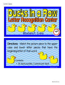 LETTER RECOGNITION CENTER: Ducks in a Row Phonics Letter Matching