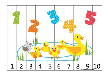 Ducks themed 1-10 Number Sequence Puzzle Game. Printable Preschool