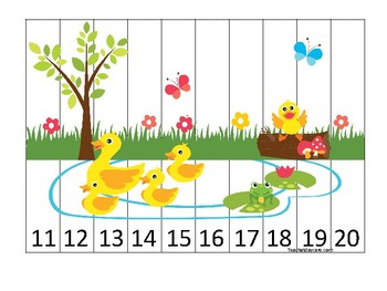 Ducks themed 11-20 Number Sequence Puzzle Game. Printable Preschool