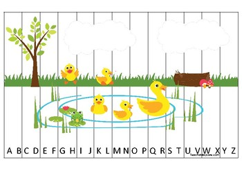 Ducks themed Alphabet Sequence Puzzle Game. Printable Preschool Gam