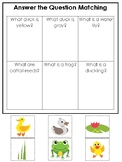 Ducks themed Answer the Question Game.  Printable Preschool Game