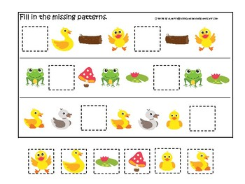 Ducks themed Fill In the Missing Pattern Game. Printable Preschool Game