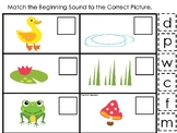 Ducks themed Match the Beginning Sound Game. Printable Preschool Game