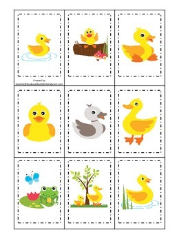 Ducks themed Memory Matching preschool activity.  Daycare educational
