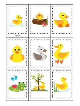 Ducks themed Memory Matching preschool activity.  Daycare educational