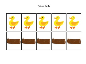 Ducks themed Pattern Cards and Game Board. Printable Preschool Game