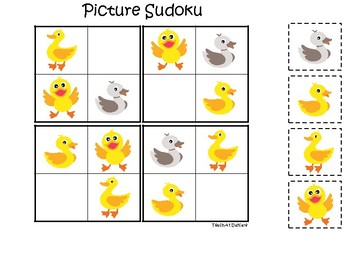 Ducks themed Picture Sudoku Game. Printable Preschool Game