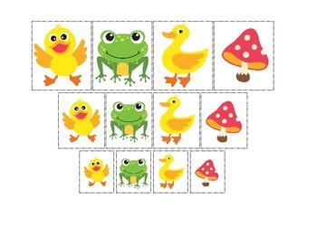 Ducks themed Size Sorting. Printable Preschool Game