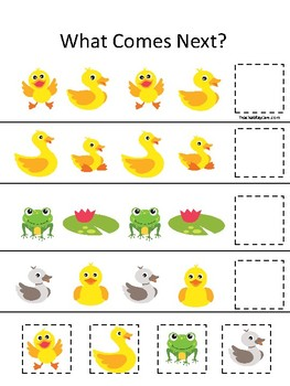 Ducks themed What Comes Next. Printable Preschool Game