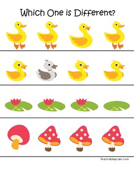 Ducks themed Which One is Different. Printable Preschool Game