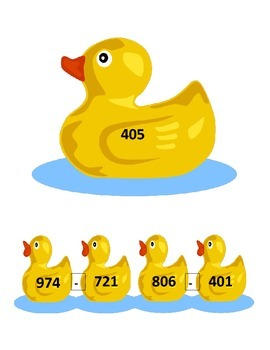Ducky Duck 3 Digit Subtraction Math Station 2.NBT.5 Common Core Aligned