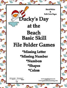 Ducky's Day at the Beach Basic Skill File Folder Games