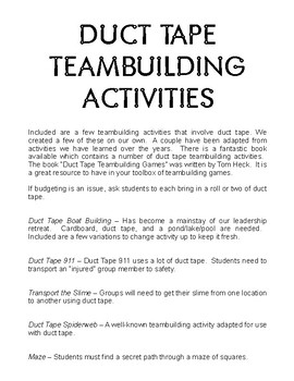 Duct Tape Teambuilding Activities