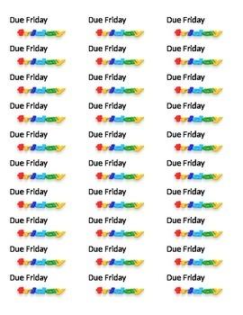 Due Friday sheet