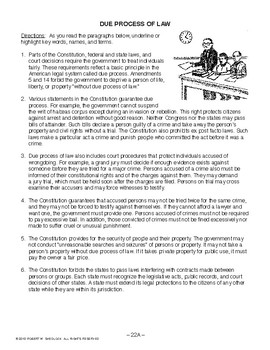 Due Process of Law, AMERICAN GOVERNMENT LESSON 22 of 105
