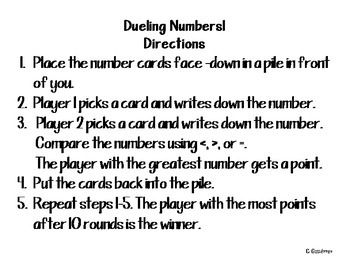 Dueling Numbers Game