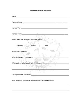 Duet Scene and Character Worksheet