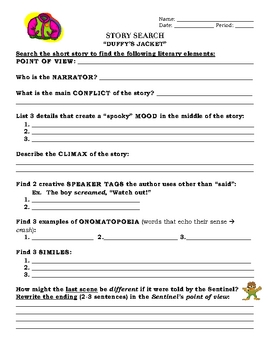 """Duffy's Jacket"" By:  Bruce Colville - Worksheets"